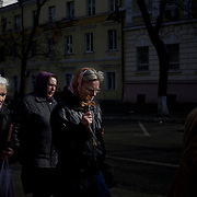 People in Odessa pray in protest against the Russian annexation of Crimea.