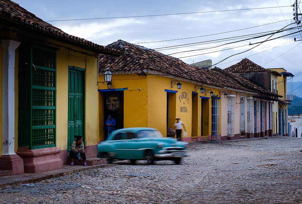TRINIDAD, CUBA - CIRCA JANUARY 2020: Classic car in the streets of Trinidad.