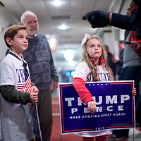 GETTYSBURG, PA - OCTOBER 22:  Brother and sister, Chase, 8, and Chloe Joes, 7, speak to a police officer after Republican Presidential nominee Donald J. Trump held an event at the Eisenhower Hotel and Conference Center October 22, 2016 in Gettysburg, Pennsylvania.  Trump delivered a policy speech announcing his plans for his first 100 days in office.  (Photo by Mark Makela/Getty Images)
