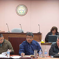 From left, Kee Allen Begay Jr., Edmund Yazzie and Herman Daniels Jr. host a law and order committee meeting in Ramah Navajo Monday.