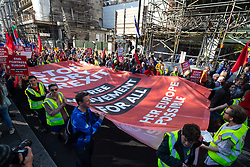 © Licensed to London News Pictures. 20/10/2018. London, UK. Demonstrators take part in the 'People's Vote' march in central London, campaigning for a public vote on the final Brexit deal. Organisers are expecting over 100,000 to attend the demonstration. Photo credit : Tom Nicholson/LNP