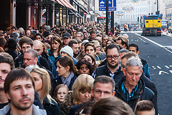 th 2014. Tens of thousands of shoppers flood central London as  Black Friday discounts and most people's pay days kick off the Christmas shopping season in earnest. PICTURED: Crowds of shoppers cram the pavement whilst Regent Street roadworks disrupt traffic.