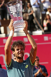 May 6, 2018 - Estoril, Portugal - Joao Sousa of Portugal raises the trophy after winning the Millennium Estoril Open ATP 250 tennis tournament final against Frances Tiafoe of US, at the Clube de Tenis do Estoril in Estoril, Portugal on May 6, 2018. (Credit Image: © Pedro Fiuza via ZUMA Wire)