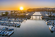 Sunset View of East and West Basin at Dana Point Harbor