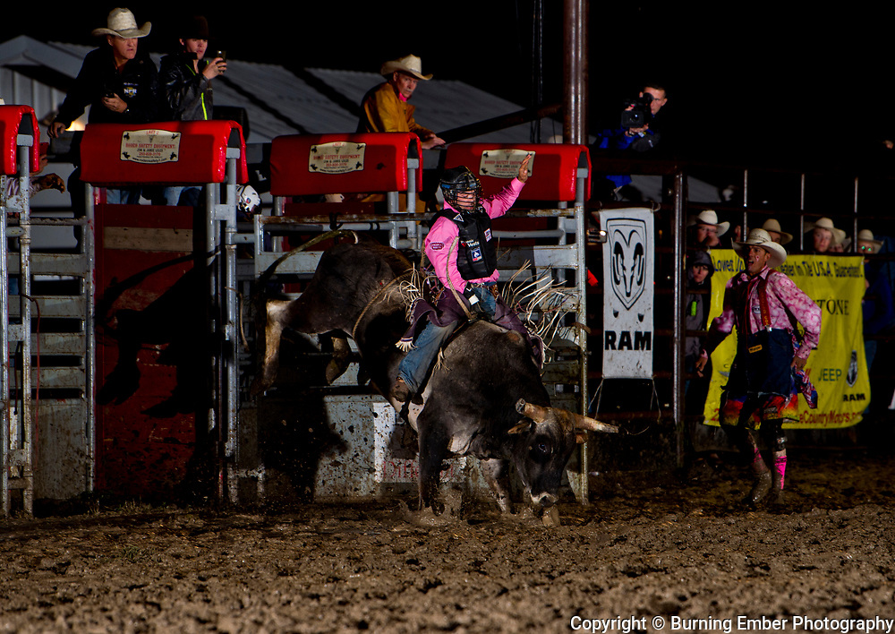 Tim Bingham on Kesler bull Gunsmoke at the Livingston Roundup 2nd perf July 3rd 2019.  Photo by Josh Homer/Burning Ember Photography.  Photo credit must be given on all uses.