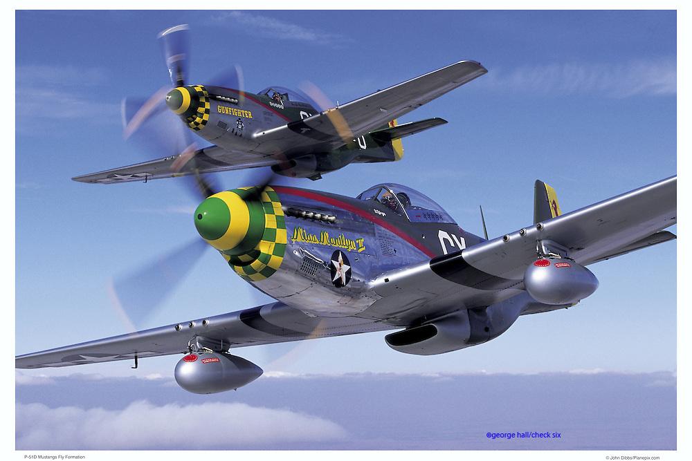P-51D Mustangs in formation, aerial