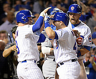 CHICAGO, IL - OCTOBER 15:  Miguel Montero #47 of the Chicago Cubs arrives at home plate after hitting a grand slam home run in the eighth inning off of Joe Blanton #55 of the Los Angeles Dodgers during Game 1 of NLCS at Wrigley Field on Saturday, October 15, 2016 in Chicago, Illinois. (Photo by Ron Vesely/MLB Photos via Getty Images)  *** Local Caption *** Miguel Montero; Joe Blanton