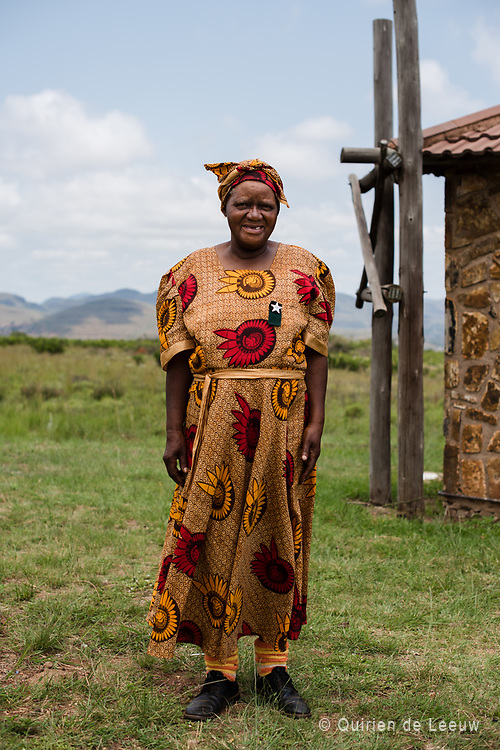 Woman in traditional clothes poses in Kwazulu Natal