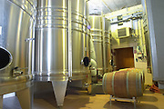 In the winery: stainless steel fermentation vats and some oak barrels, Champagne Larmandier-Bernier, Vertus, Cote des Blancs, Champagne, Marne, Ardennes, France