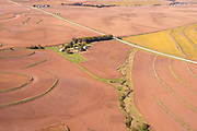 Aerial photograph of rural farmland in Montgomery County, Iowa, USA.