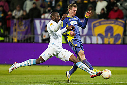 Michael Ciani #2 of S.S. Lazio and Robert Beric #32 of Maribor during football match between NK Maribor and S. S. Lazio Roma  (ITA) in 6th Round of Group Stage of UEFA Europa league 2013, on December 6, 2012 in Stadium Ljudski vrt, Maribor, Slovenia. (Photo By Gregor Krajncic / Sportida)