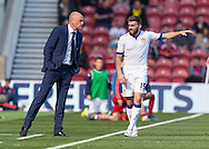 Leeds United FC Manager Uwe Rosler gives instructions to Leeds United FC midfielder Stuart Dallas    during the Sky Bet Championship match between Middlesbrough and Leeds United at the Riverside Stadium, Middlesbrough, England on 27 September 2015. Photo by George Ledger.