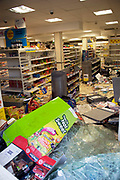 Looted and smashed up Tesco supermarket along London Road in Croydon. The day after rioting took place in Croydon in South London. Riots flared for a third night in a row, resulting in burnt out buildings, looted shops and general smashed up devastation.