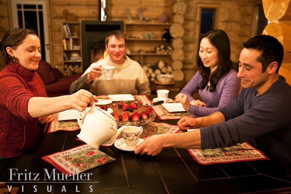 Winter retreat with friends at Fox Creek Wilderness Bed and Breakfast near Lake Laberge, Whitehorse, Yukon