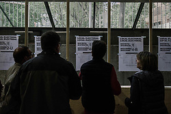 April 28, 2019 - Girona, Spain - Polling station in La Eixample distric in Girona, Spain, on April 28, 2019. -  Spaniards went to the polls today to vote for 350 members of the parliament and 208 senators. This is the 13th General Election since the transition to democracy resulting in the Constitution of 1978. There are five main parties: the two traditional parties are right-wing Partido Popular (People's Party) and centre-left Partido Socialista Obrero Espanol or PSOE (Spanish Socialist Workers's Party), along with right-wing Ciudadanos (Citizens) and left wing Podemos (We Can) and the fifth is the far-right party Vox. (Credit Image: © Carles Palacio/NurPhoto via ZUMA Press)