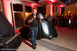 Indian Motorcycles president Steve Menneto at the Indian new bike reveal party at the Hilton Hotel during Daytona Bike Week. Daytona Beach, FL, USA. Friday March 10, 2017. Photography ©2017 Michael Lichter.