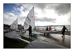 New Slipway facility at Largs Sailing Club..Opening races in breezy conditions for the Laser Radial World Championships, taking place at Largs, Scotland GBR. ..118 Women from 35 different nations compete in the Olympic Women's Laser Radial fleet and 104 Men from 30 different nations. .All three 2008 Women's Laser Radial Olympic Medallists are competing. .The Laser Radial World Championships take place every year. This is the first time they have been held in Scotland and are part of the initiaitve to bring key world class events to Britain in the lead up to the 2012 Olympic Games. .The Laser is the world's most popular singlehanded sailing dinghy and is sailed and raced worldwide. ..Further media information from .laserworlds@gmail.com.event press officer mobile +44 7775 671973  and +44 1475 675129 .