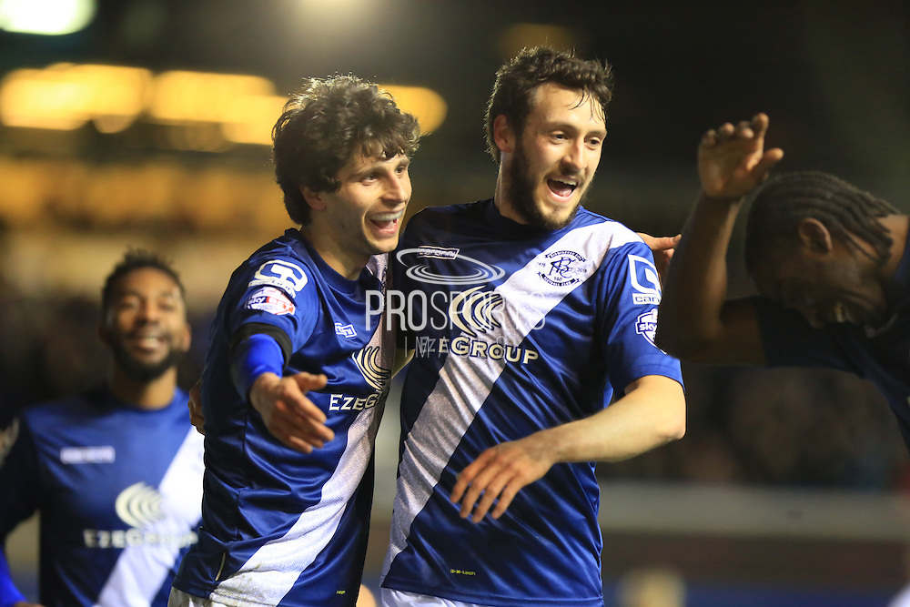 Diego Fabbrini, Will Buckley celebrate Clayton Donaldson Goalduring the Sky Bet Championship match between Birmingham City and Bolton Wanderers at St Andrews, Birmingham, England on 23 February 2016. Photo by Daniel Youngs.