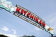 """USA, Alaska,Close up of the """"Welcome to Alaska's First City-Ketchikan- The Salmon Capitol of the World"""" sign."""