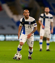 CARDIFF, WALES - Wednesday, November 18, 2020: Finland's Nikolai Alho during the UEFA Nations League Group Stage League B Group 4 match between Wales and Finland at the Cardiff City Stadium. Wales won 3-1 and finished top of Group 4, winning promotion to League A. (Pic by David Rawcliffe/Propaganda)