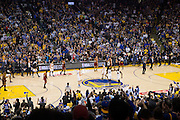 Golden State Warriors fans celebrate during the second quarter against the Cleveland Cavaliers at Oracle Arena in Oakland, Calif., on January 16, 2017. (Stan Olszewski/Special to S.F. Examiner)