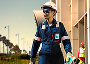Refinery employee with full PPE
