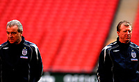 Photo: Alan Crowhurst.<br />England training session at Wembley Stadium. 21/03/2007. Terry Venables (L) and Steve McClaren watch on.