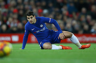 Alvaro Morata of Chelsea looks on. Premier League match, Liverpool v Chelsea at the Anfield stadium in Liverpool, Merseyside on Saturday 25th November 2017.<br /> pic by Chris Stading, Andrew Orchard sports photography.