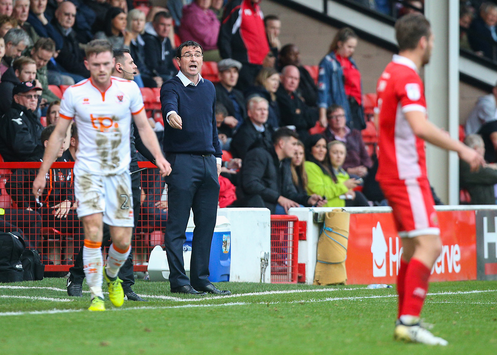 Blackpool manager Gary Bowyer shouts instructions to his team from the technical area<br /> <br /> Photographer Alex Dodd/CameraSport<br /> <br /> The EFL Sky Bet League One - Walsall v Blackpool - Saturday 14th October 2017 - Bescot Stadium - Walsall<br /> <br /> World Copyright © 2017 CameraSport. All rights reserved. 43 Linden Ave. Countesthorpe. Leicester. England. LE8 5PG - Tel: +44 (0) 116 277 4147 - admin@camerasport.com - www.camerasport.com