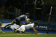 Blaine Scully of Cardiff Blues © scores his teams 1st try of the match. European rugby challenge cup match, pool 4, Cardiff Blues v Pau at the BT Sport Cardiff Arms Park in Cardiff, South Wales on Friday 21st October 2016.<br /> pic by Andrew Orchard, Andrew Orchard sports photography.