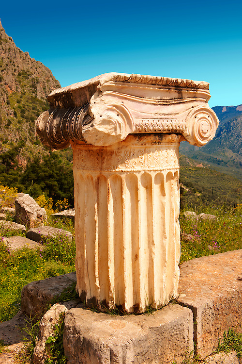 Ionic Coloumn. Delphi, archaeological site, Greece, .<br /> <br /> If you prefer to buy from our ALAMY PHOTO LIBRARY  Collection visit : https://www.alamy.com/portfolio/paul-williams-funkystock/delphi-site-greece.html  to refine search type subject etc into the LOWER SEARCH WITHIN GALLERY.<br /> <br /> Visit our ANCIENT GREEKS PHOTO COLLECTIONS for more photos to download or buy as wall art prints https://funkystock.photoshelter.com/gallery-collection/Ancient-Greeks-Art-Artefacts-Antiquities-Historic-Sites/C00004CnMmq_Xllw