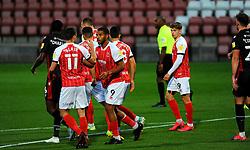Reuben Reid of Cheltenham Town scores a penalty making it 1-0- Mandatory by-line: Nizaam Jones/JMP - 20/10/2020 - FOOTBALL - Jonny-Rocks Stadium - Cheltenham, England - Cheltenham Town v Scunthorpe United - Sky Bet League Two