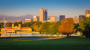 Denver is the largest city and capital of the State of Colorado. Denver is nicknamed the Mile-High City because its official elevation is exactly one mile (5,280 feet) above sea level, making it one of the highest major cities in the United States. Denver is ranked as a beta world city by the Globalization and World Cities Research Network. With a 2013 estimated population of 649,495, Denver ranks as the 22nd-most populous U.S. city.<br /> <br /> Denver City was founded in November 1858 as a mining town during the Pike's Peak Gold Rush in western Kansas Territory. That summer, a group of gold prospectors from Lawrence, Kansas, had arrived and established Montana City on the banks of the South Platte River. This was the first settlement in what was later to become the city of Denver. The site faded quickly, however, and by the summer of 1859 it was abandoned in favor of Auraria (named after the gold mining town of Auraria, Georgia), and St. Charles City.
