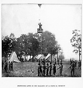 PROFESSOR LOWE IN HIS OBSERVATION BALLOON from the book ' The Civil war through the camera ' hundreds of vivid photographs actually taken in Civil war times, sixteen reproductions in color of famous war paintings. The new text history by Henry W. Elson. A. complete illustrated history of the Civil war