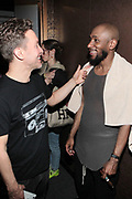 April 28-New York, New York: (L-R) Photographer Mike Schrieber and Recording Artist/Actor Yasiin Bey  backstage during the Soul In The Horn Live: Presents Yasiin Bey curated by D'Prosper held at Sony Hall on April 28, 2018 in New York City . (Photo by Terrence Jennings/terrencejennings.com)