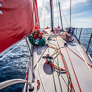 Leg 9, from Newport to Cardiff, day 03 on board MAPFRE, Tamara Echegoyen at the bowduring the wind transition. 22 May, 2018.