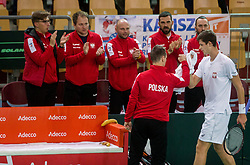 Hubert Hurkacz of Poland playing singles during the Day 2 of Davis Cup 2018 Europe/Africa zone Group II between Slovenia and Poland, on February 4, 2018 in Arena Lukna, Maribor, Slovenia. Photo by Vid Ponikvar / Sportida