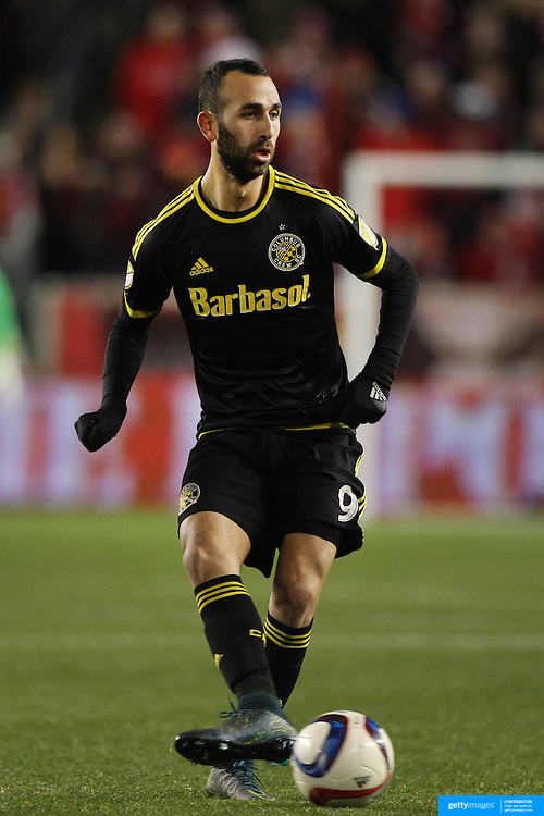 Justin Meram, Columbus Crew SC, in action during the New York Red Bulls Vs Columbus Crew SC, Major League Soccer Eastern Conference Championship, second leg, at Red Bull Arena, Harrison, New Jersey. USA. 29th November 2015. Photo Tim Clayton