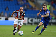 Samir Carruthers of Sheffield United (l) breaks away from Joe Ralls of Cardiff city (r). EFL Skybet championship match, Cardiff city v Sheffield Utd at the Cardiff City Stadium in Cardiff, South Wales on Tuesday 15th August 2017.<br /> pic by Andrew Orchard, Andrew Orchard sports photography.