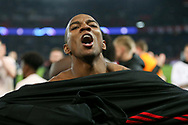 Manchester United Midfielder Ashley Young celebrates during the Champions League Round of 16 2nd leg match between Paris Saint-Germain and Manchester United at Parc des Princes, Paris, France on 6 March 2019.