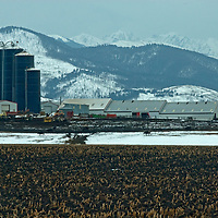 Silos tower over a farm near Bozeman, Montana. The Gallatin Range and Spanish Peaks are in the background.