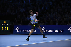 November 16, 2017 - London, England, United Kingdom - US player Jack Sock returns to Germany's Alexander Zverev during their men's singles round-robin match on day five of the ATP World Tour Finals tennis tournament at the O2 Arena in London on November 16 2017. (Credit Image: © Alberto Pezzali/NurPhoto via ZUMA Press)
