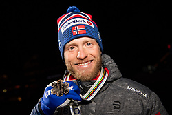 February 23, 2019 - Seefeld In Tirol, AUSTRIA - 190223 Bronze medalist Martin Johnsrud Sundby of Norway poses for a picture at the medal ceremony for men's cross country skiing skiathlon during the FIS Nordic World Ski Championships on February 23, 2019 in Seefeld in Tirol..Photo: Joel Marklund / BILDBYRÃ…N / kod JM / 87887 (Credit Image: © Joel Marklund/Bildbyran via ZUMA Press)