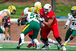 NORMAL, IL - October 05: Drew Himmelman provides some offensive blocking on Aaron Mercacel during a college football game between the ISU (Illinois State University) Redbirds and the North Dakota State Bison on October 05 2019 at Hancock Stadium in Normal, IL. (Photo by Alan Look)