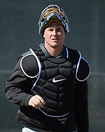 GLENDALE, ARIZONA - FEBRUARY 20:  James McCann #33 of the Chicago White Sox looks on during spring training workouts on February 20, 2019 at Camelback Ranch in Glendale Arizona.  (Photo by Ron Vesely). Subject:   James McCann