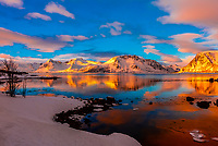 Snow covered coastline, Lofoten Islands, Arctic, Northern Norway.