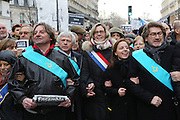 """A massive public rally """"Cry for Freedom"""" takes place in central Paris on Sunday afternoon. Masons and friends on the public demonstration<br /><br />The rally brought in people of all colors and creeds from both France and abroad. Many were carrying placards with various slogans. This demonstration happened the weekend after armed gunmen attacked the offices of Charlie Hebdo, killing twelve people, including the editor and celebrated cartoonists; four more are in critical condition. It is the dealiest terror attack in France for over fifty years. Charlie Hebdo is a satirical publication well known for its political cartoons. The jihadists responsible were killed by police in several shootouts on the Friday afternoon. <br /><br />As a solidarity actions with the deaths at Charlie Hebdo many placards read """"Je suis Charlie"""" translating as """"I am Charlie (Hebdo)"""". Demonstrators held aloft pens, brushes and crayons, symbolizing the profession of journalists and cartoonists who were killed. Many pens were placed in a shrine with candles in the square. Some protesters also refused to ally themselves with Charlie Hebdo."""