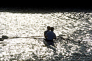 2005 FISA Team Cup, Rio Guadalquiver Rowing Course, Seville, SPAIN, 19.02.2005. Training Day; GBR LM2X retuening after training session..Photo  Peter Spurrier. .email images@intersport-images... Sunrise, Sunsets, Silhouettes