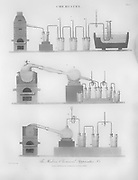 Modern chemical apparatus for the study of chemistry  Copperplate engraving From the Encyclopaedia Londinensis or, Universal dictionary of arts, sciences, and literature; Volume IV;  Edited by Wilkes, John. Published in London in 1810