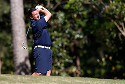 John Congemi tees off during the Chick-fil-A Peach Bowl Challenge at the Oconee Golf Course at Reynolds Plantation, Sunday, May 1, 2018, in Greensboro, Georgia. (Paul Abell via Abell Images for Chick-fil-A Peach Bowl Challenge)